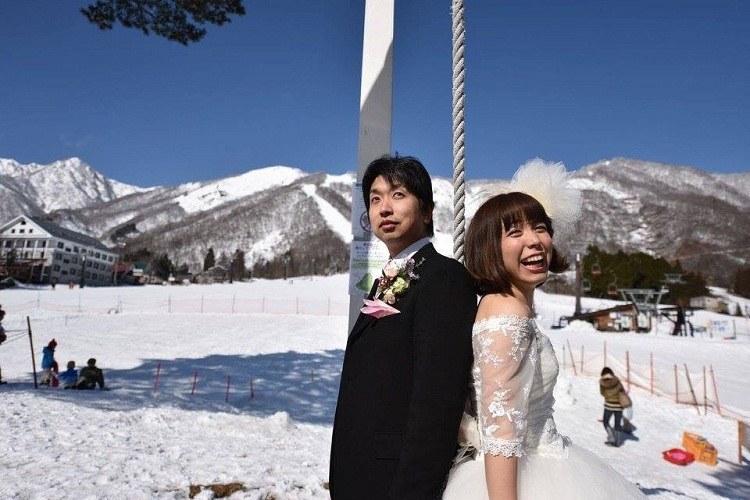 前撮り,ウェディングドレス,雪