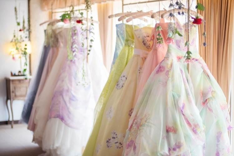 カラードレス,花柄