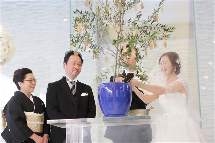 結婚証明ツリーの植木鉢に土を入れる土合わせの儀