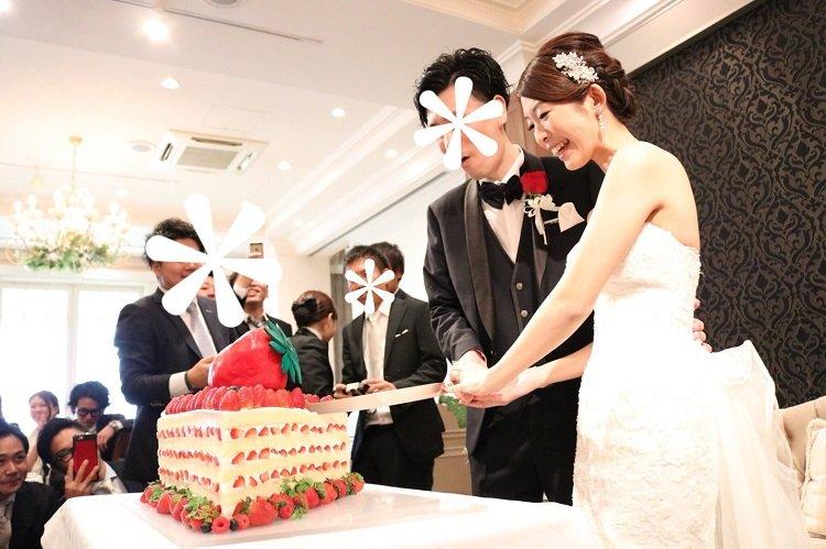 星が丘アートグレイスクラブで披露宴*インパクト大の巨大ショートケーキでケーキカット