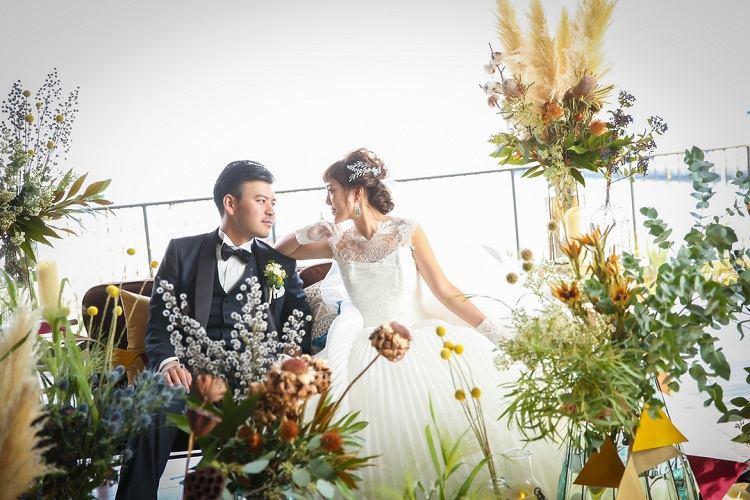 秋婚*季節感にこだわった会場装飾*高砂席